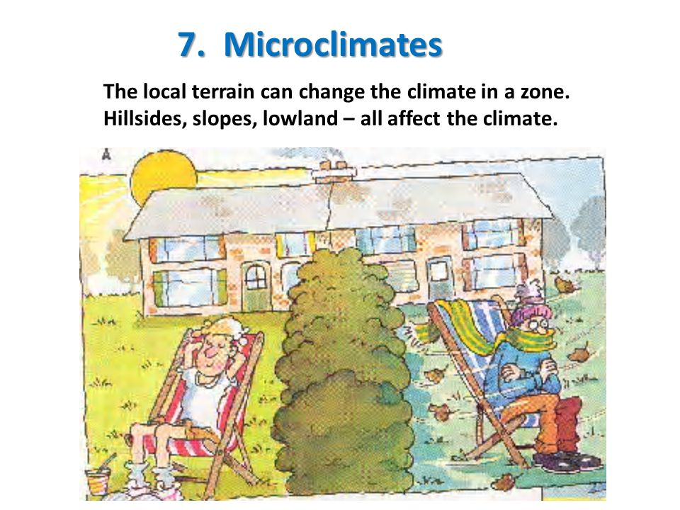 7. Microclimates The local terrain can change the climate in a zone.