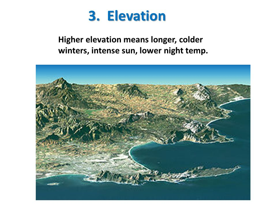 3. Elevation Higher elevation means longer, colder winters, intense sun, lower night temp.