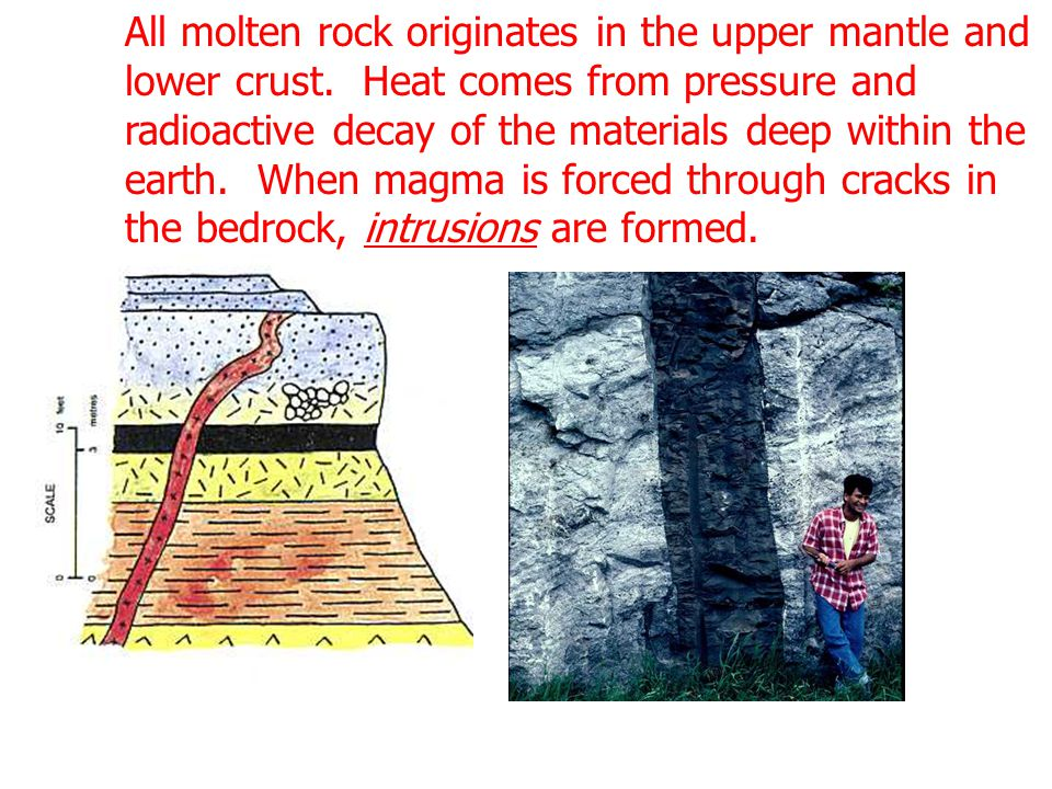 All molten rock originates in the upper mantle and lower crust