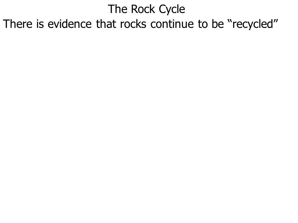 The Rock Cycle There is evidence that rocks continue to be recycled