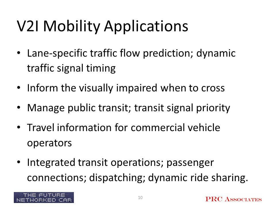 V2I Mobility Applications