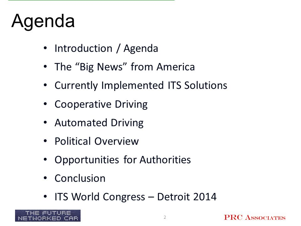 Agenda Introduction / Agenda The Big News from America
