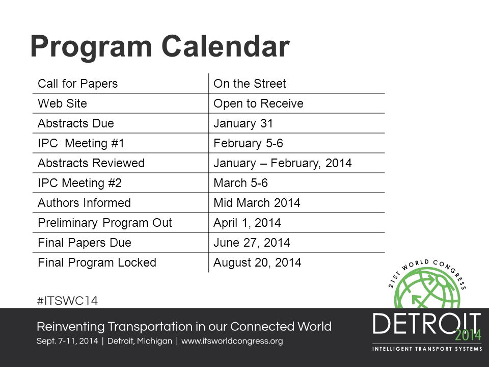Program Calendar Call for Papers On the Street Web Site