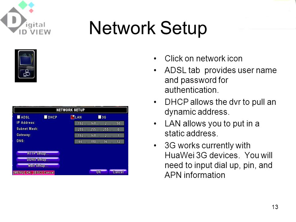 Network Setup Click on network icon