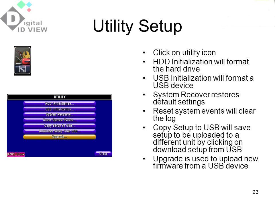 Utility Setup Click on utility icon
