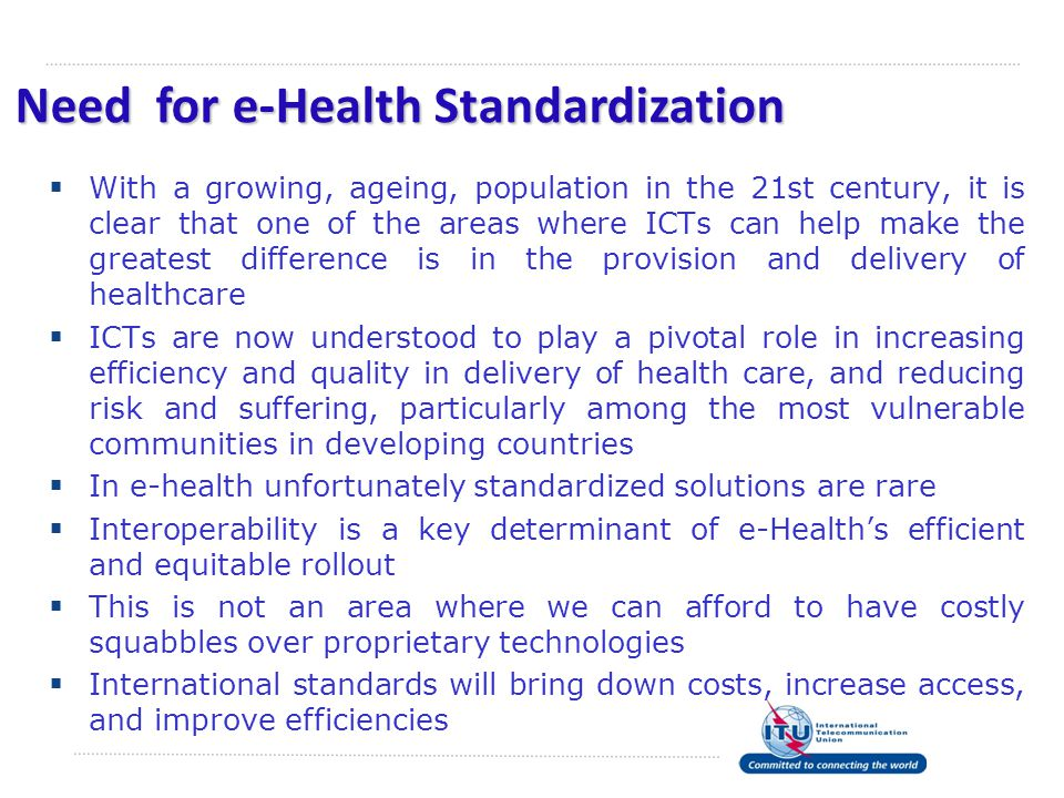 Need for e-Health Standardization