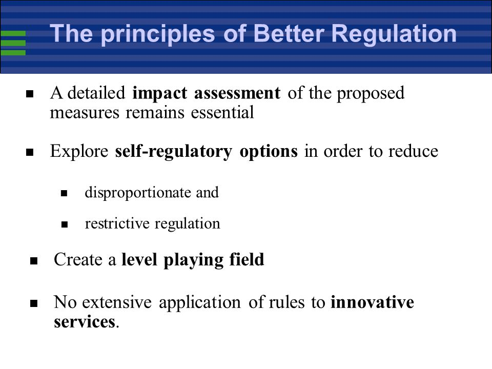 The principles of Better Regulation