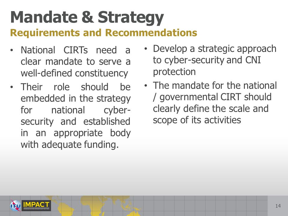 Mandate & Strategy Requirements and Recommendations