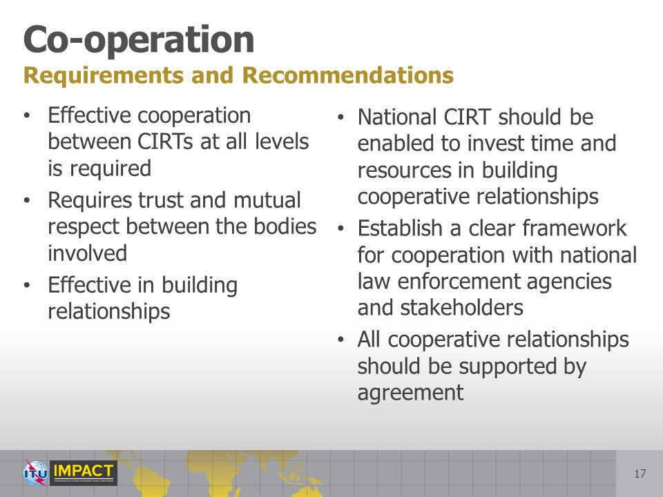 Co-operation Requirements and Recommendations
