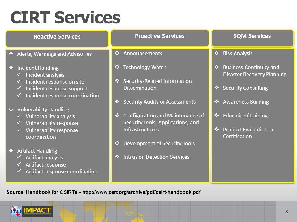 CIRT Services Reactive Services Proactive Services SQM Services