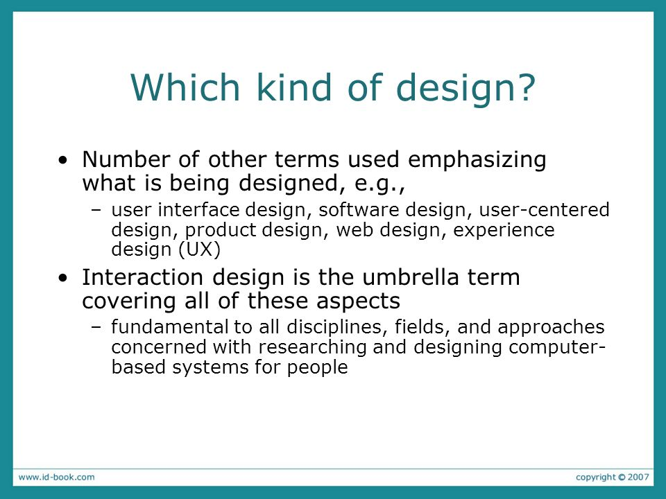 Which kind of design Number of other terms used emphasizing what is being designed, e.g.,