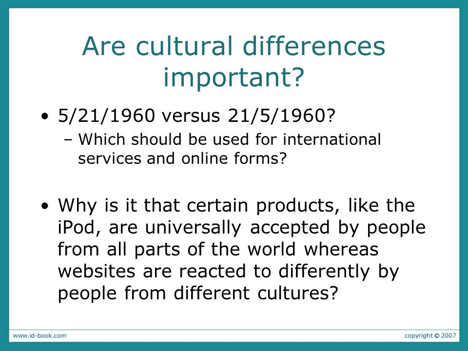 Are cultural differences important