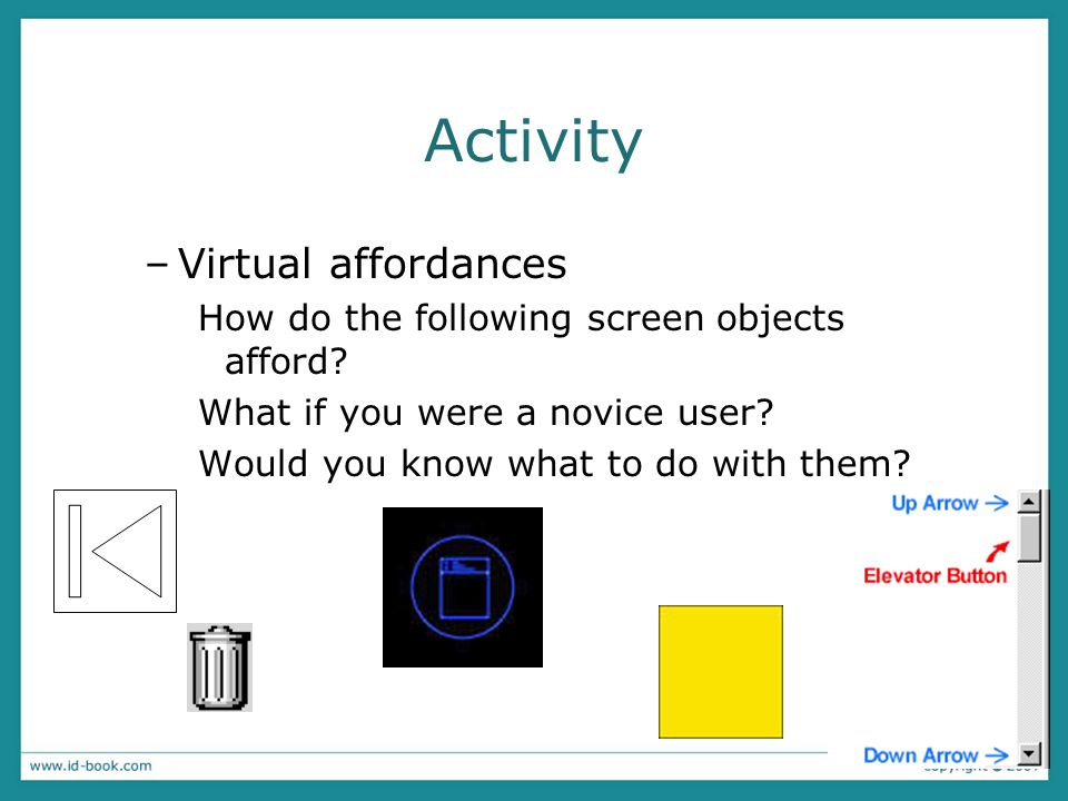 Activity Virtual affordances