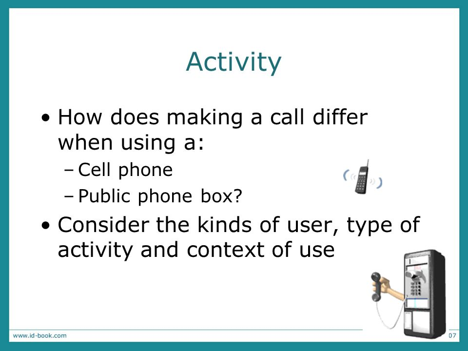 Activity How does making a call differ when using a: