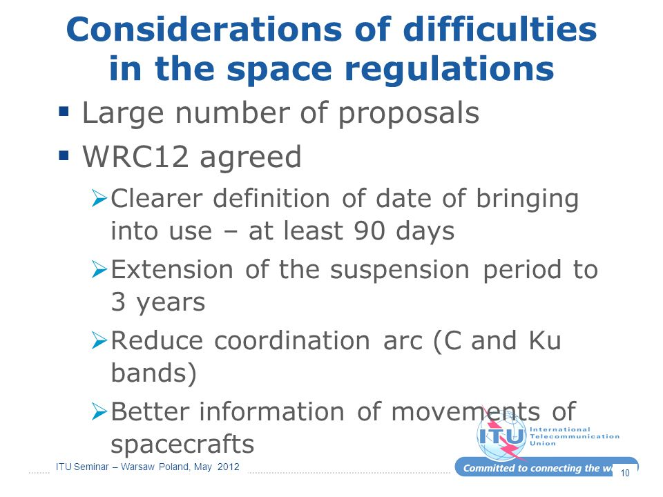 Considerations of difficulties in the space regulations