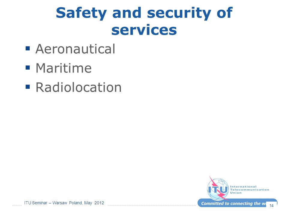 Safety and security of services