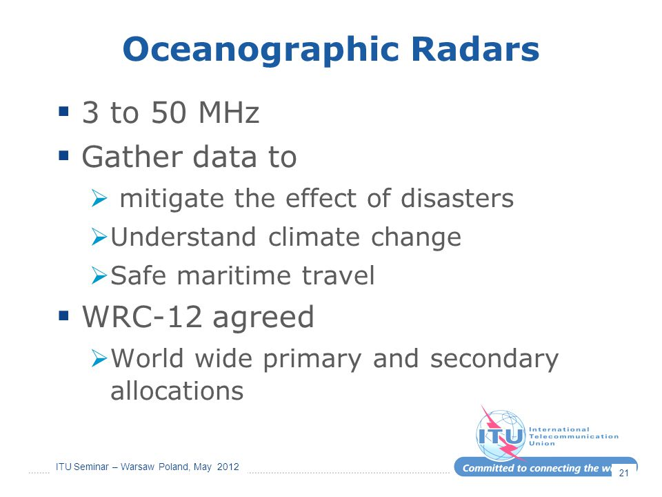 Oceanographic Radars 3 to 50 MHz Gather data to WRC-12 agreed