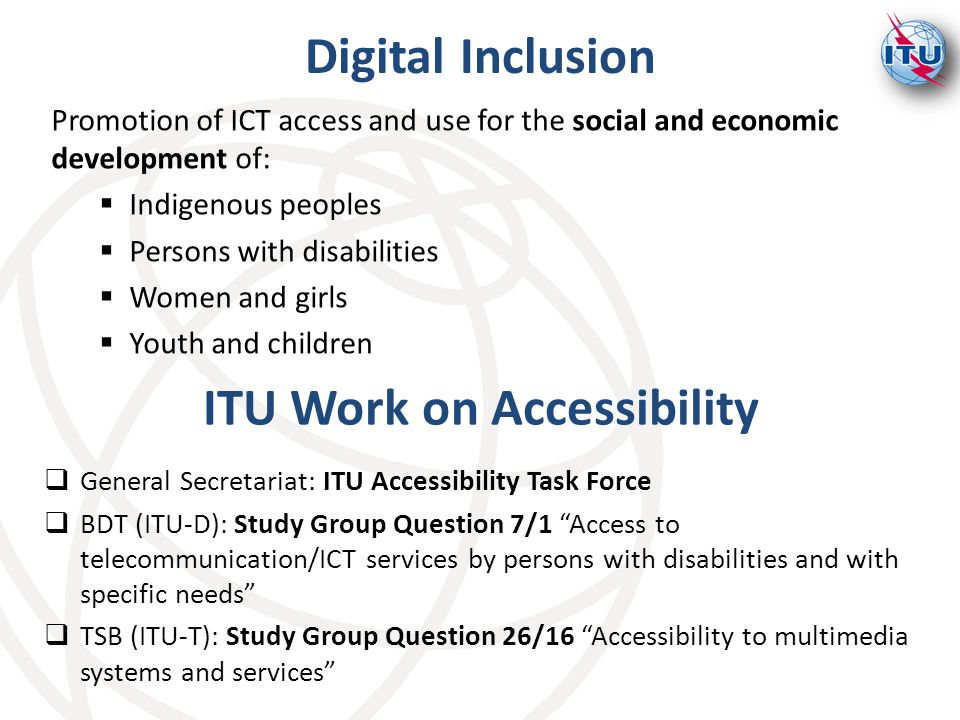 ITU Work on Accessibility