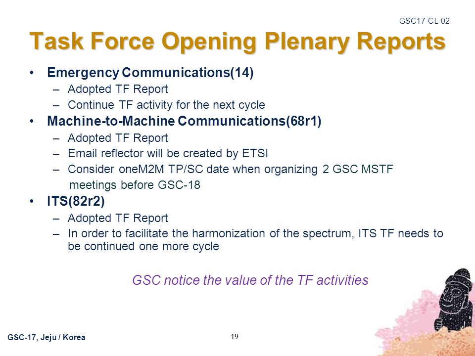 Task Force Opening Plenary Reports