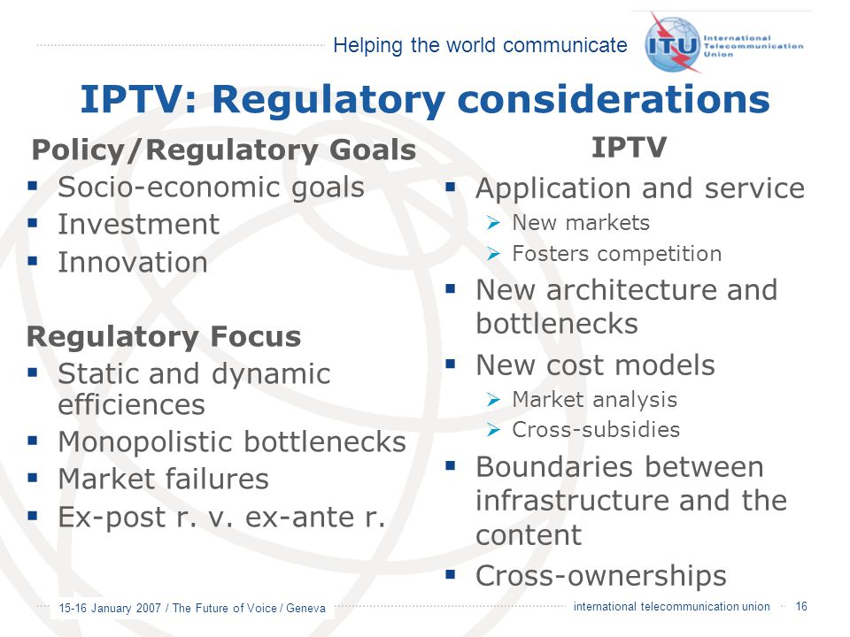 IPTV: Regulatory considerations