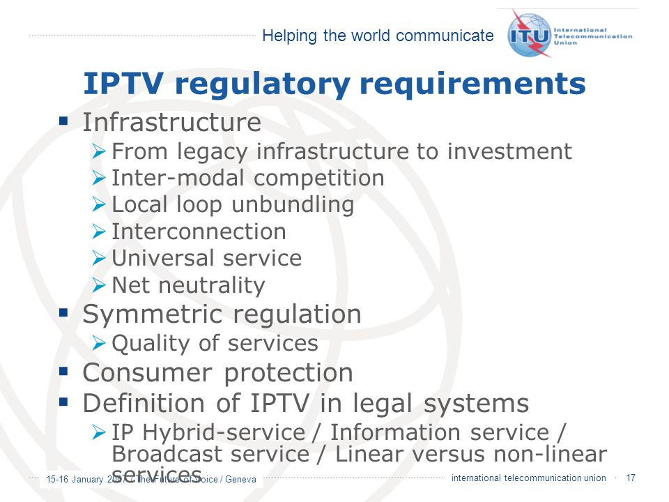 IPTV regulatory requirements