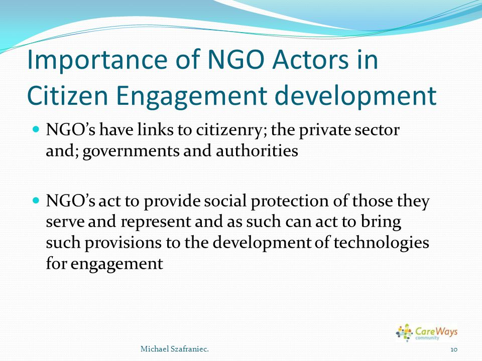 Importance of NGO Actors in Citizen Engagement development