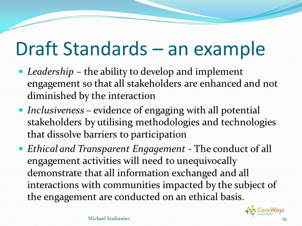Draft Standards – an example