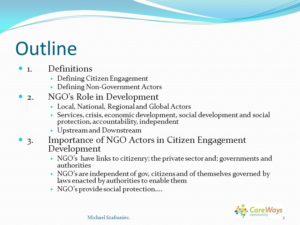 Outline 1. Definitions 2. NGO's Role in Development