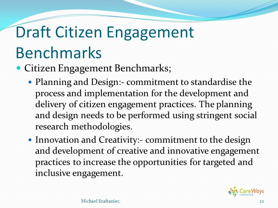 Draft Citizen Engagement Benchmarks