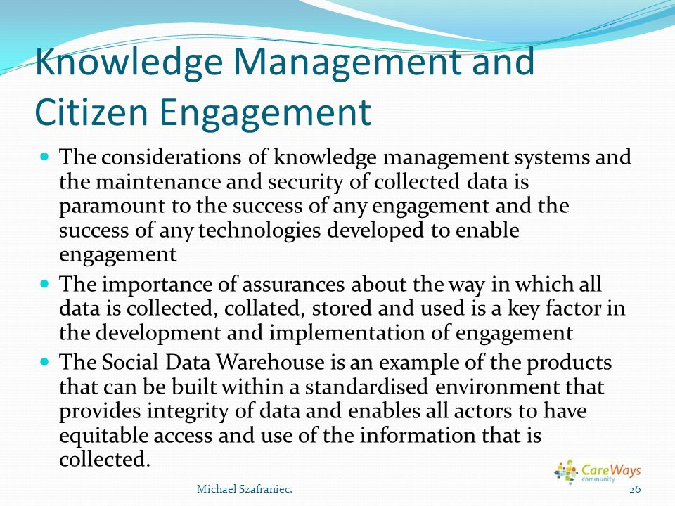 Knowledge Management and Citizen Engagement