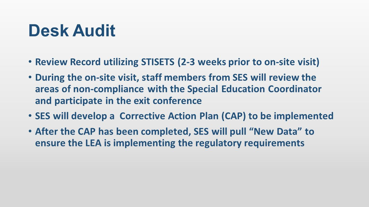 Desk Audit Review Record utilizing STISETS (2-3 weeks prior to on-site visit)