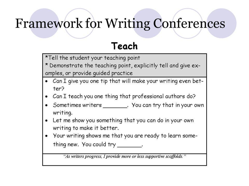 Framework for Writing Conferences