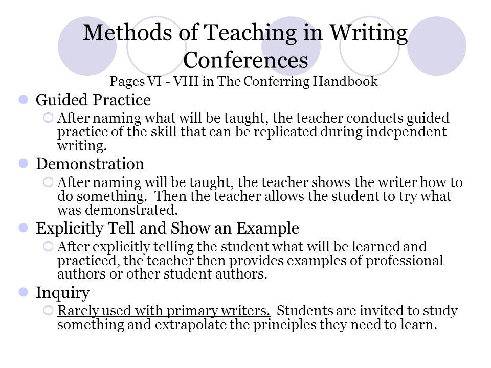 Methods of Teaching in Writing Conferences