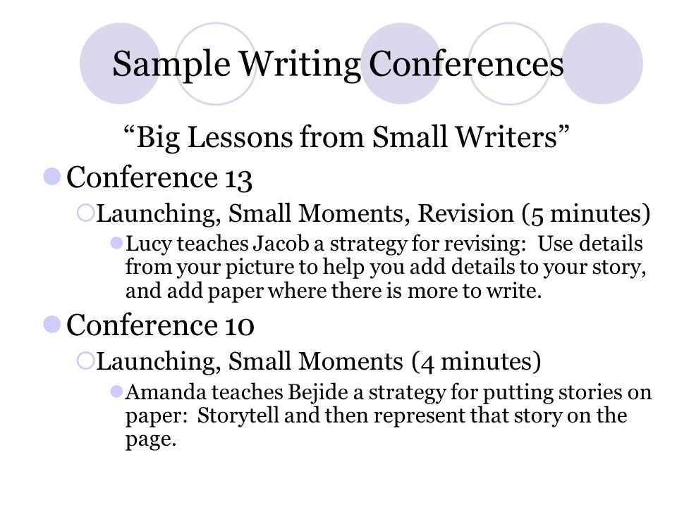 Sample Writing Conferences
