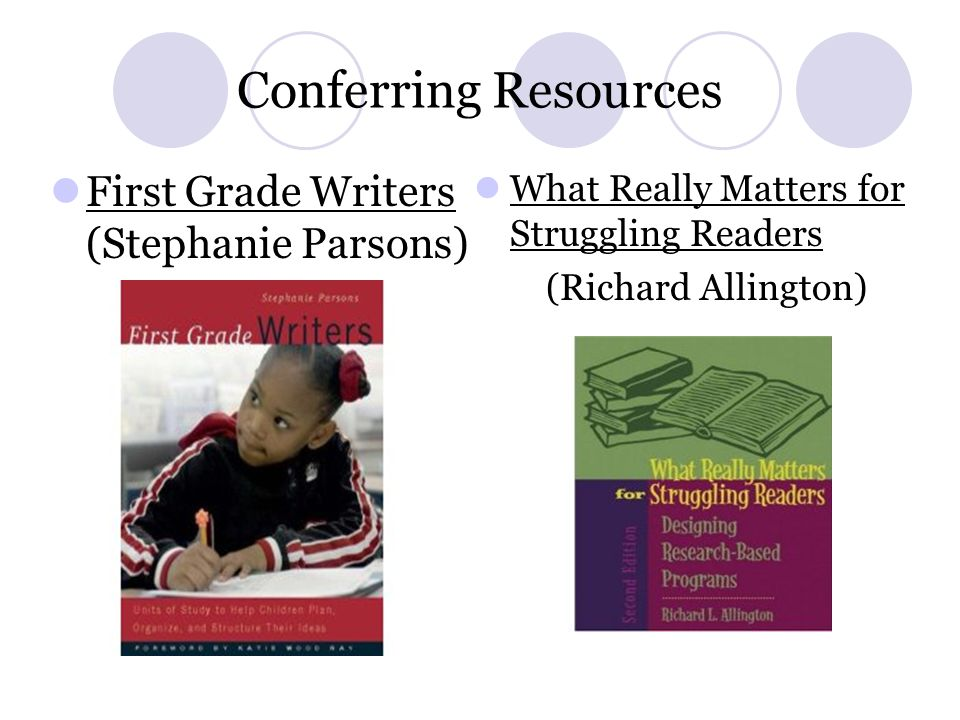 Conferring Resources First Grade Writers (Stephanie Parsons)