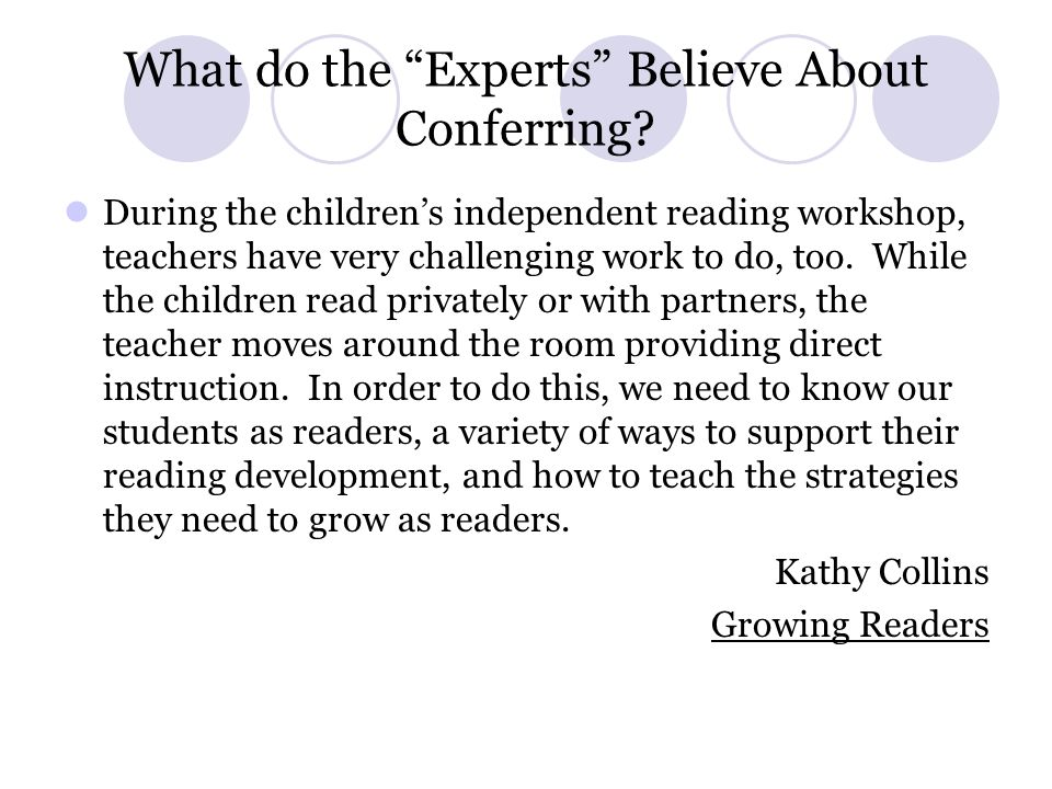 What do the Experts Believe About Conferring