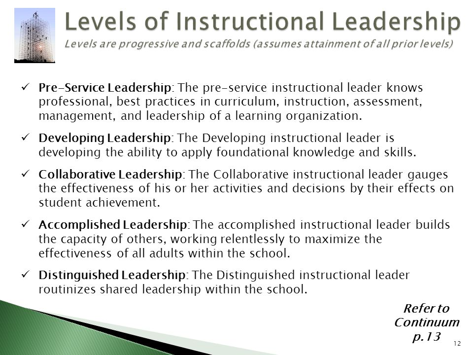 Levels of Instructional Leadership Levels are progressive and scaffolds (assumes attainment of all prior levels)