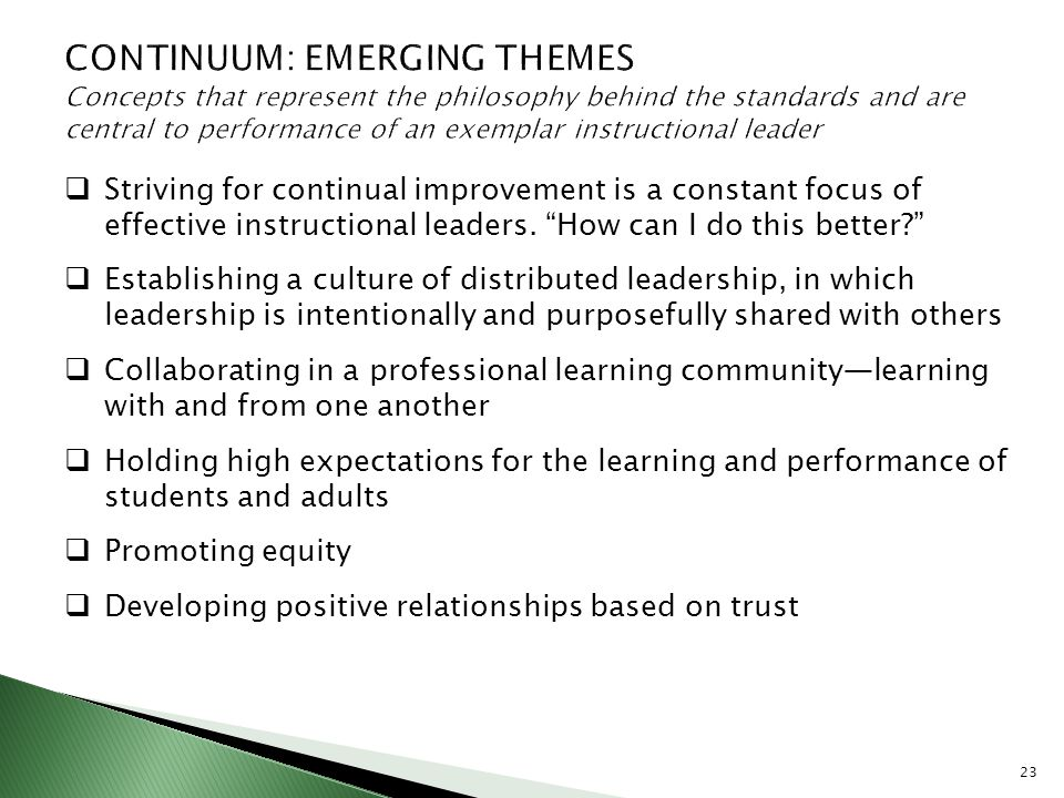 CONTINUUM: EMERGING THEMES Concepts that represent the philosophy behind the standards and are central to performance of an exemplar instructional leader