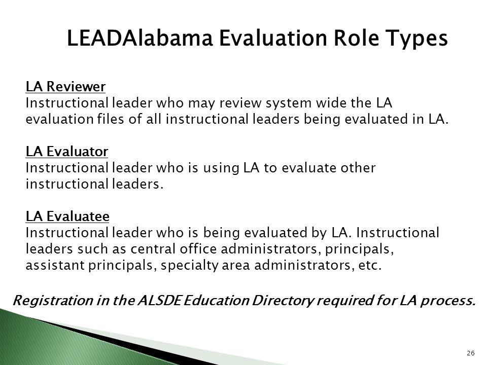 LEADAlabama Evaluation Role Types