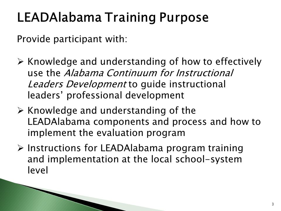 LEADAlabama Training Purpose
