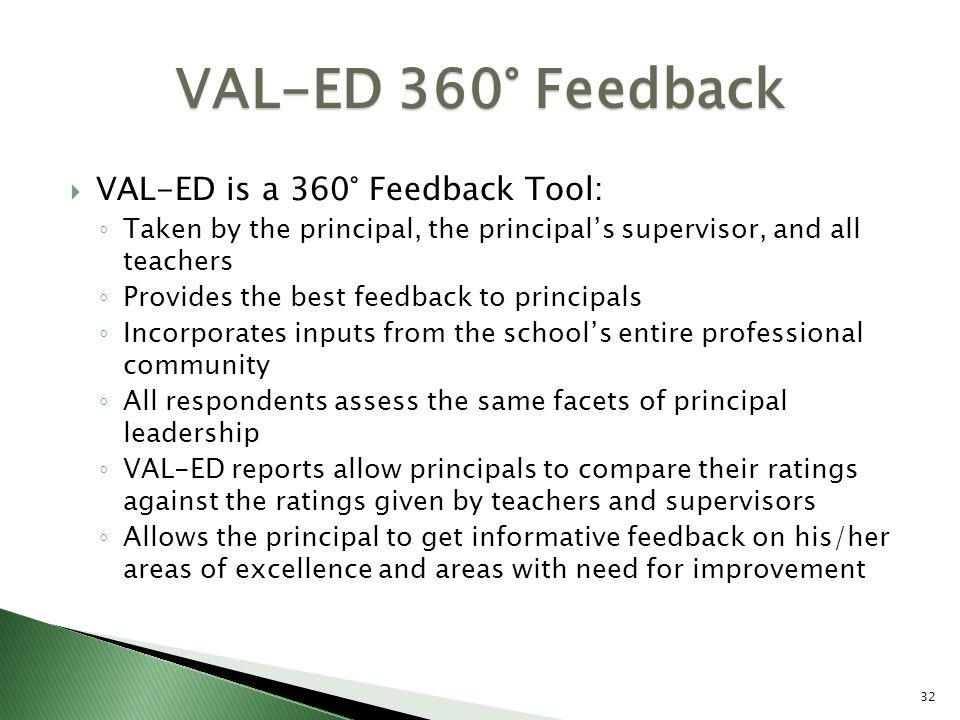 VAL-ED 360° Feedback VAL-ED is a 360° Feedback Tool: