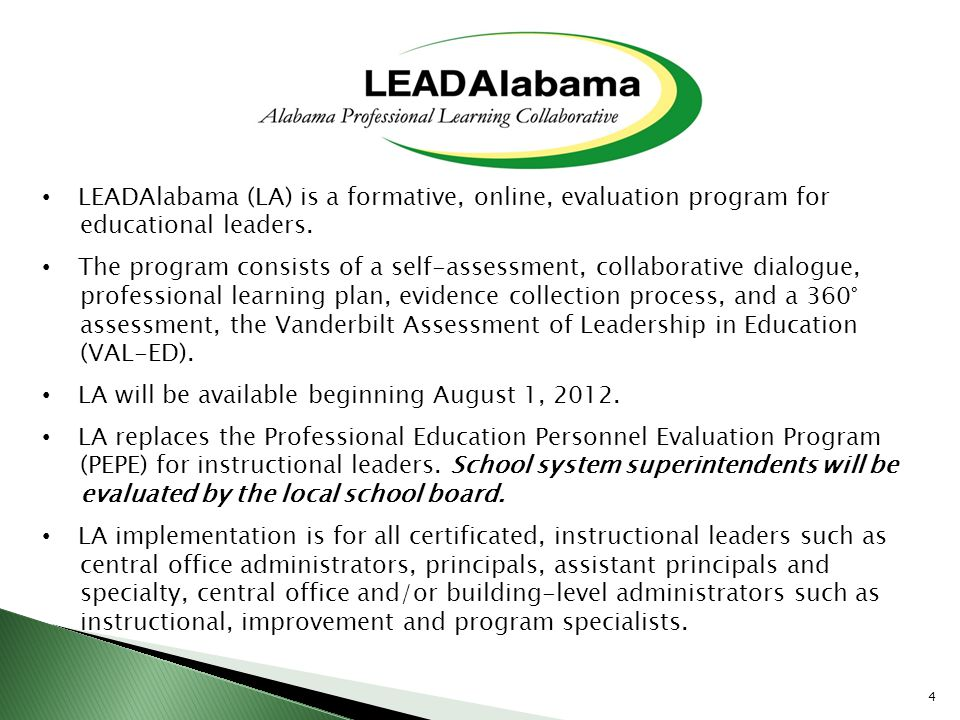 LEADAlabama (LA) is a formative, online, evaluation program for
