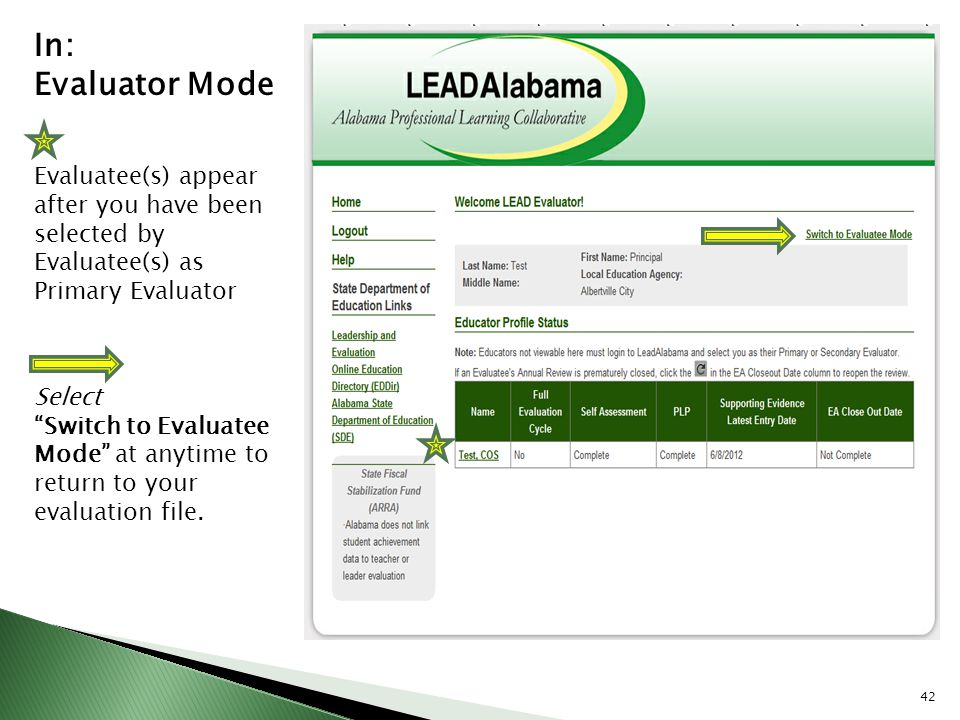 In: Evaluator Mode. Evaluatee(s) appear after you have been selected by Evaluatee(s) as Primary Evaluator.