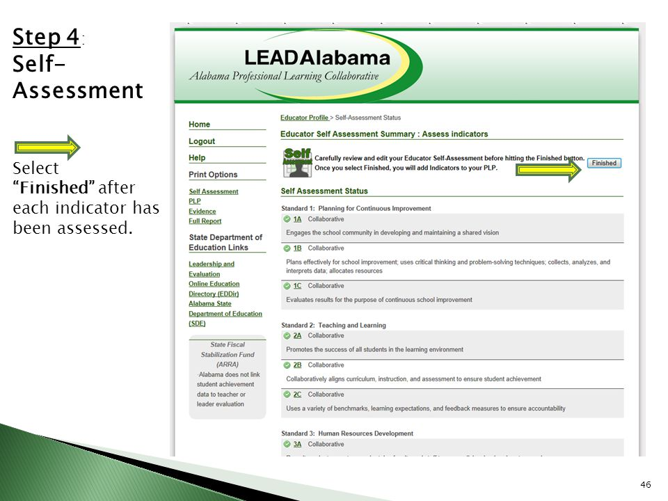 Step 4: Self- Assessment Select