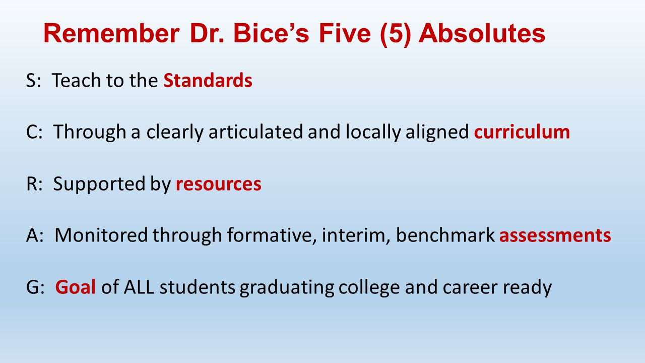 Remember Dr. Bice's Five (5) Absolutes