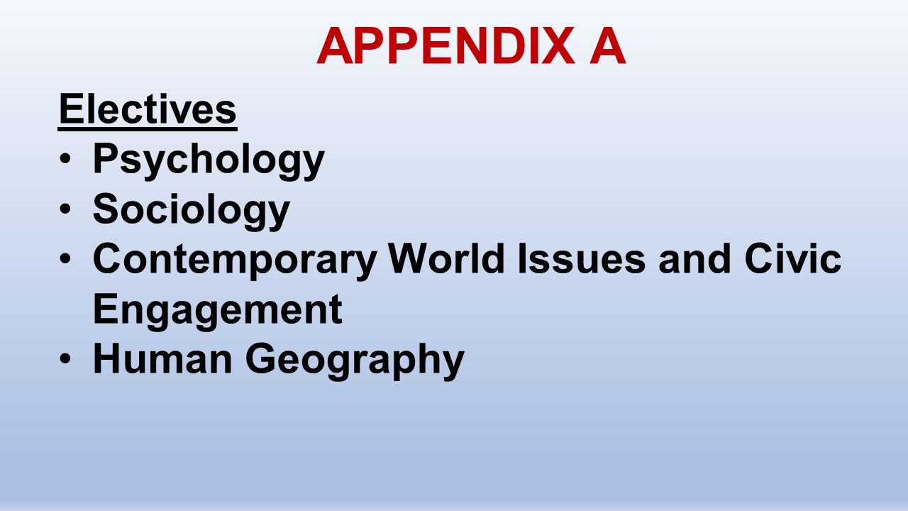 APPENDIX A Electives Psychology Sociology