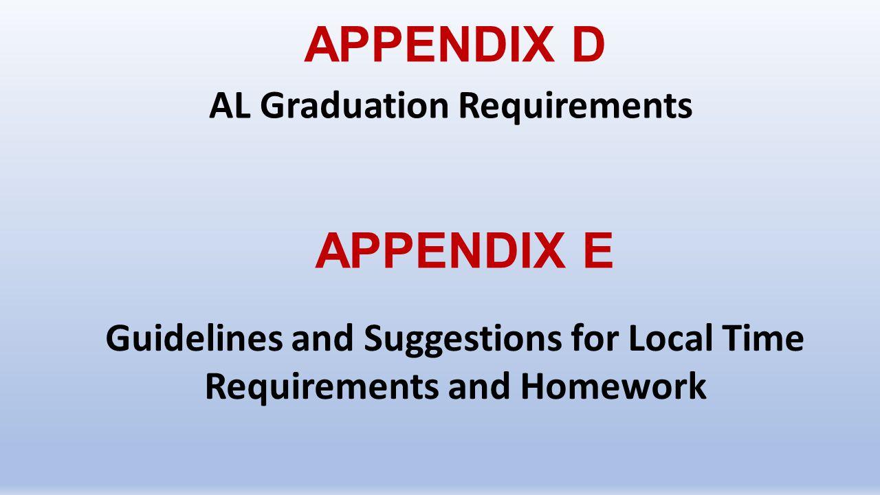APPENDIX D APPENDIX E AL Graduation Requirements