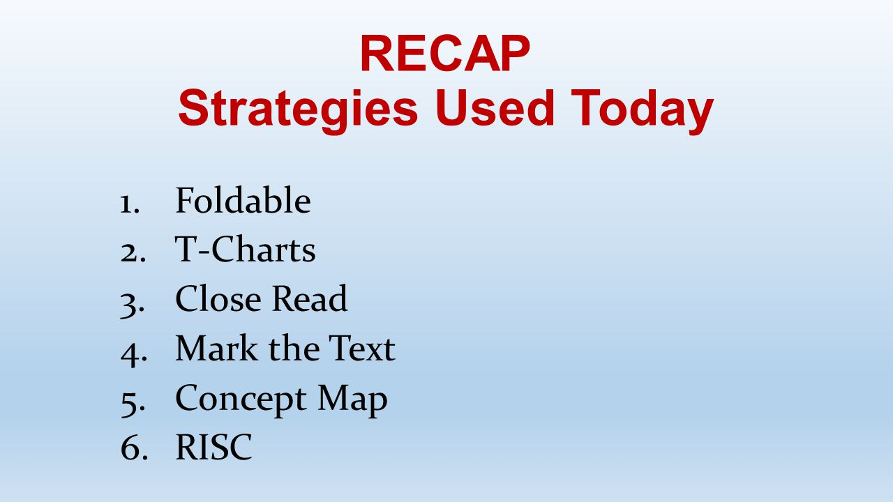 RECAP Strategies Used Today