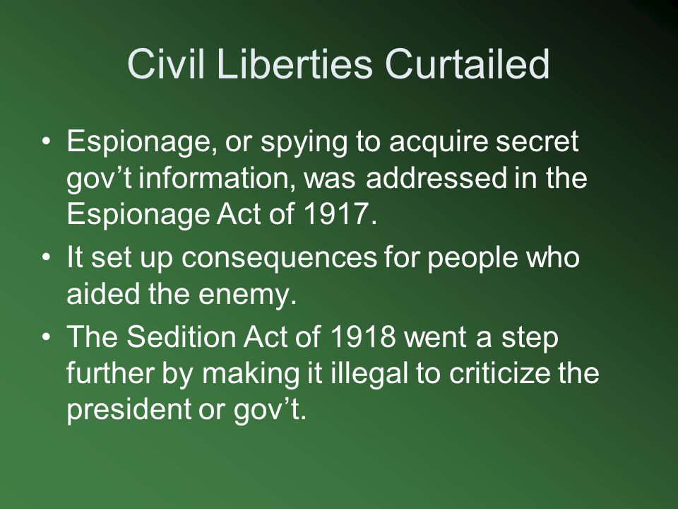 Civil Liberties Curtailed