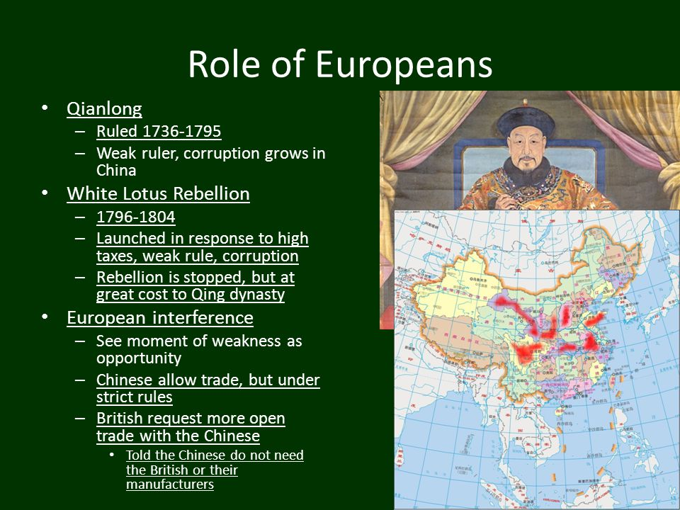 Role of Europeans Qianlong White Lotus Rebellion European interference